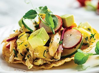 Tostadas de pico de gallo tropical